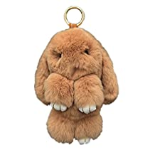 Bunny Keychain Magicub Rabbit Fur Bag Doll Ball Key Ring Pendant Color Random (Khaki)