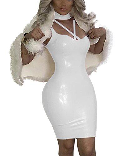 Bluewolfsea Women Sexy Bodycon Dress Choker Neck Pencil Shiny Wet Look Party Club Night Wear White M