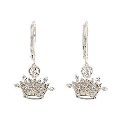 Dangle Disney Earrings (Disney Princess Rhodium Plated Cubic Zirconia Tiara Crown Dangle Earrings)