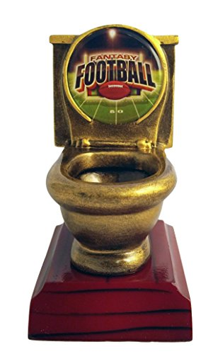 Decade Awards Fantasy Football FFL Toilet Bowl Trophy/Award - Engraved Plates Request - Perfect Award Trophy - Made Heavy Resin Casting Recognition (Resin Football Trophies)
