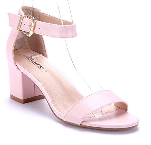 Schuhtempel24 Damen Schuhe Sandaletten Sandalen Rosa Blockabsatz 6 cm WMp53