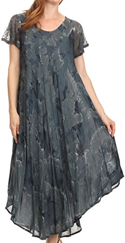 Cap Sleeve Embroidered Dress - Sakkas 16800 - Sayli Long Tie Dye Cap Sleeve Embroidered Wide Neck Caftan Dress/Cover up - Ink Blue - OS