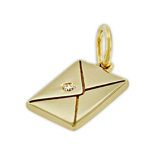 Charm America Gold Love Letter Charm - 14 Karat Solid Yellow Gold with 1 pt Diamond -