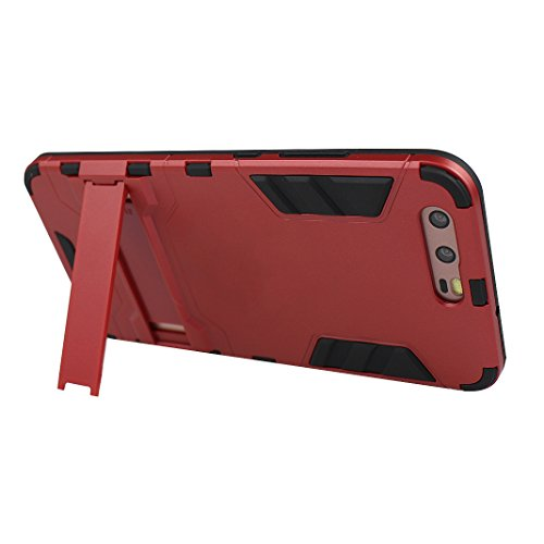 "Rosa Schleife Ultra Delgada Huawei P10 Plus Funda de Protección Híbrido Armadura Escabroso Caso Doble Capa Carcasa Trasera Función de Soporte Funda de Móvil Para Huawei P10 Plus (5.5""), Negro Rojo"