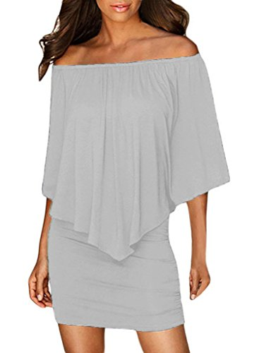 Sidefeel Women Off Shoulder Ruffles Party Mini Dress Large Grey