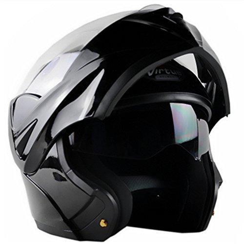 ILM 10 Colors Motorcycle Flip up Modular Helmet DOT (L, Gloss Black) - Gloss Black Helmet