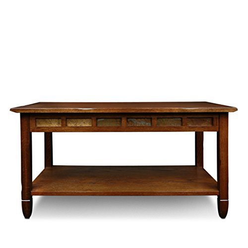 Rustic Slate Rectangular Coffee Table Rustic Oak Finish Beachfront Decor