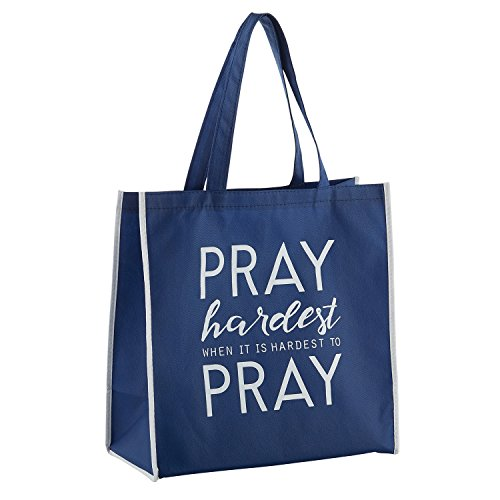 Pray Hardest When Hardest Navy Blue 13 x 13 Inch Recycled Nylon Tote Bag by Gifts Of Faith