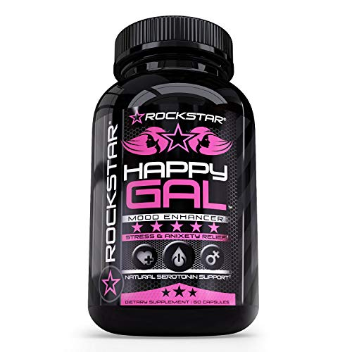 Rockstar Happy Gal Supplement, Serotonin Production, Anxiety, Stress, Depression Relief, Supports Relaxation, 60 Count