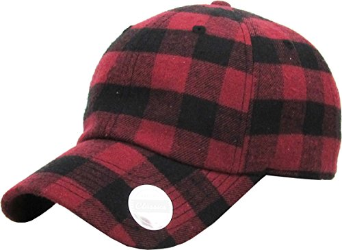 KBE-Plaid BUR-BLK 6 Panel Buffalo Plaid Dad Hat Baseball Classic Adjustable Soft Plain -