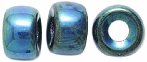 9mm Roller Bead - Preciosa Ornela Traditional Czech Glass Crow Roller 60-Piece Beads, 9mm, Blue Iris
