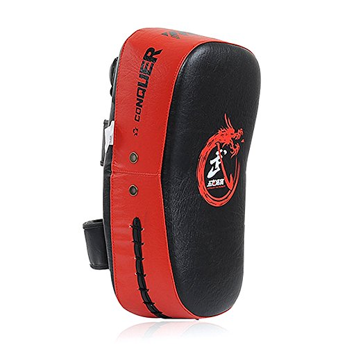 Cheerwing PU Leather Strike Shield Curved Focus Training Target Punch Mitt Karate Muay Thai Pad Kick Arm Target (Red)