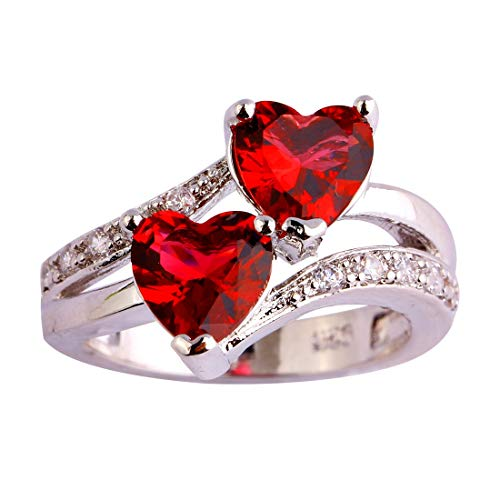 (Emsione Vintage 925 Sterling Silver Plated Halo CZ Double Heart Created Ruby Spinel&Topaz Love Wedding Promise Ring)