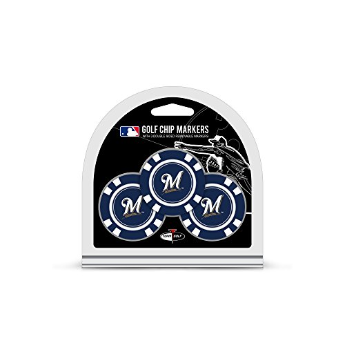 (Team Golf MLB Golf Chip Ball Markers (3 Count), Poker Chip Size with Pop Out Smaller Double-Sided Enamel Markers)