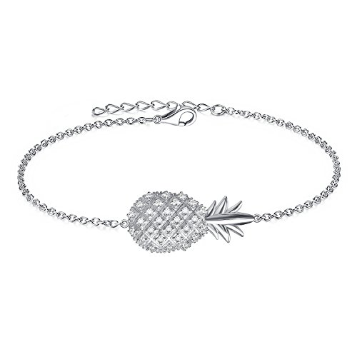 AoedeJ 925 Sterling Silver Bracelets Cubic Zirconia Heartbeat Hamsa Charm Adjustable Bracelet Gift for Women (Pineapple)