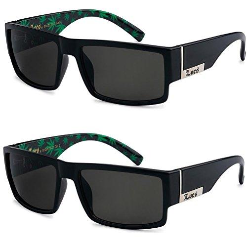 2 Pack - Locs Sunglasses Black Gangster Sunglasses (2 Pot green)