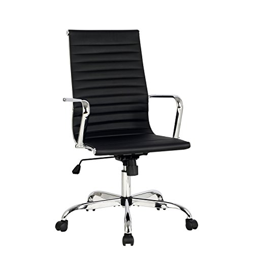 High Back Black Ribbed Upholstered Leather Executive Swivel Conference Chair, Tilt Adjustable Office Chair, Arm Rest Computer Chair
