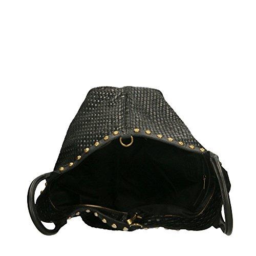 Noir Chicca 53x34x20 cuir avec en à véritable in Italy main Cm en cuir Made bandoulière Sac tressé imprimé Borse CfUq6FFaw