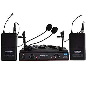 freeboss ku 22h2 uhf wireless microphone system dj karaoke 2 lapel and 2 headset. Black Bedroom Furniture Sets. Home Design Ideas