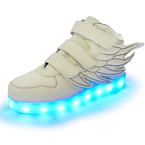 Lumeey 7 Color Kids LED Light Up Shoes Dance Shoes Flashing Sneakers with Wings-White/US Little Kids 2.5M/EUR (Kids Fancy Dress Next Day Delivery)