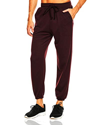 DAIKEN Mens Joggers Sweatpants Elastic Waist Athletic Pants with Pockets Slim Fit Coffee