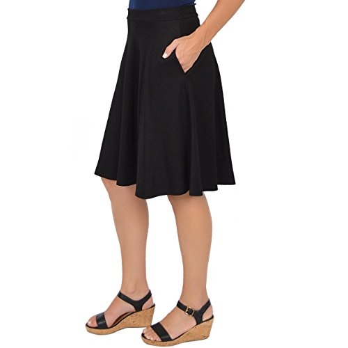 Stretch is Comfort Women's Circle Skirt with Pockets Black Small