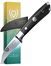 """DALSTRONG Tourne Peeling-Paring Knife - 2.75"""" (7 cm) - Gladiator Series - Forged German Thyssenkrupp High-Carbon Steel - Black G10 Handle - Sheath Included - NSF Certified"""