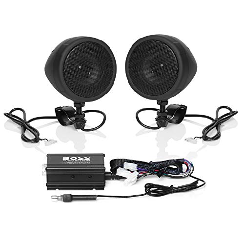 BOSS Audio MCBK420B Motorcycle Bluetooth Speaker System - One 2 Channel Compact Amplifier, Two 3' Weatherproof Speakers, One Volume Control, Great for Use with ATVs/Motorcycles and All 12 Volt Vehic