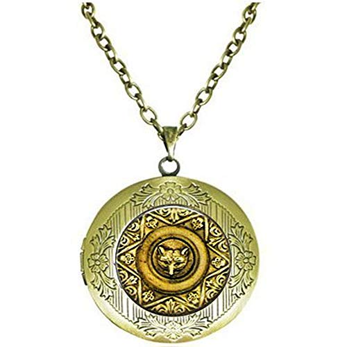 hars Fox Jewelry - Fox Face Medallion Pocket Watch Necklace - Fox Lover - Religious Jewelry Locket Necklace ()