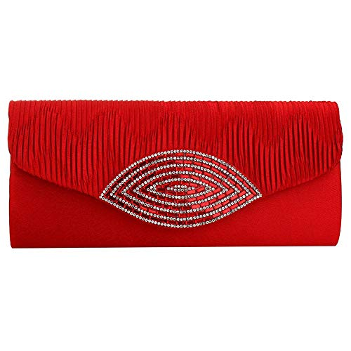 Clutch Pleated Envelope Womens Party Red Wedding Evening Handbag Satin Vintage Cocktail tT4qzEw