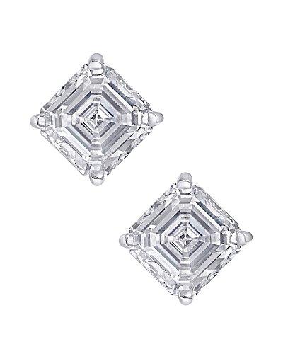 Clear Square Asscher Cut CZ Stone Sterling Silver Basket Set Stud Earrings 6mm (Asscher Stud)