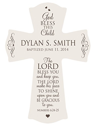 (Personalized Baptism Cross for Boys & Girls for Table or Wall Display,