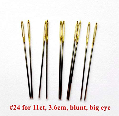 Color: Needle 24 for 11ct Zamtac 10pcs//lot #26#24#22# 28 Golden Tail Needles for aida 9ct 11ct 14ct 18ct Fabric Cross Stitch Blunt Embroider DIY Needlework