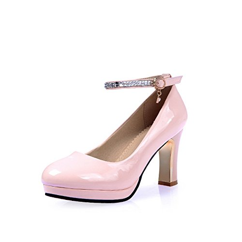 BalaMasa Womens Solid Round-Toe Metal Buckles Imitated Leather Pumps-Shoes Pink