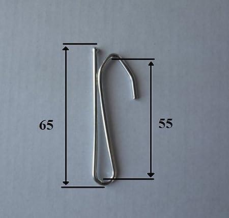 Lot de 15 Unit/és taille 65mm Crochets de rideaux en acier nickel/é /à ins/érer une branche haute 55 mm
