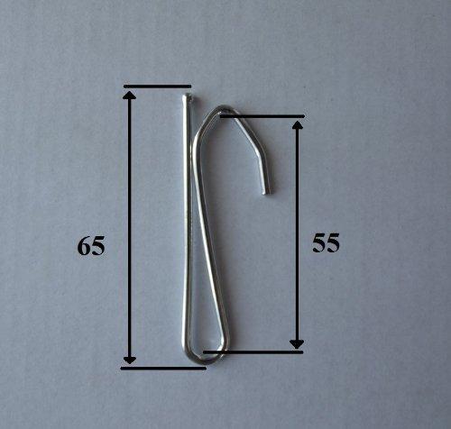 Ganci per tende in acciaio nichelato a inserire, dimensioni 65mm, un ramo alta 55mm, 20 unités BarthSystème