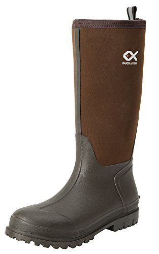 Duck and Fish Women 15″ Fishing Hunting Neoprene Rubber Molded Outsole Knee Boot (W 8 / B 6, Brown)