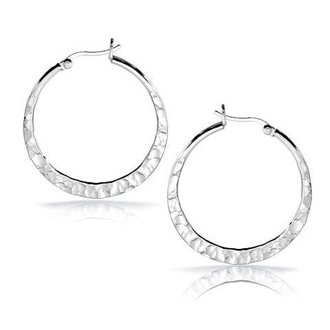 Bling Jewelry Sterling Silver Hammered Hoop Earrings 1.5in - Hammered Round Hoop