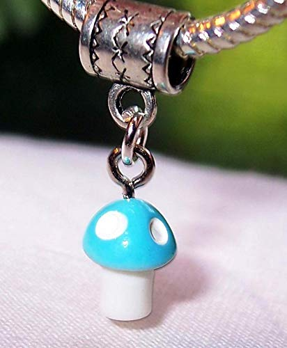 - Pale Blue Spotted Mushroom Lucite Dangle Bead for Silver European Charm Bracelet Vintage Crafting Pendant Jewelry Making Supplies - DIY for Necklace Bracelet Accessories by CharmingSS