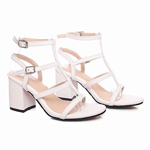 Charm Foot Mujeres Tobillo Correa Chunky Heel Open Toe Summer Sandalia Blanco
