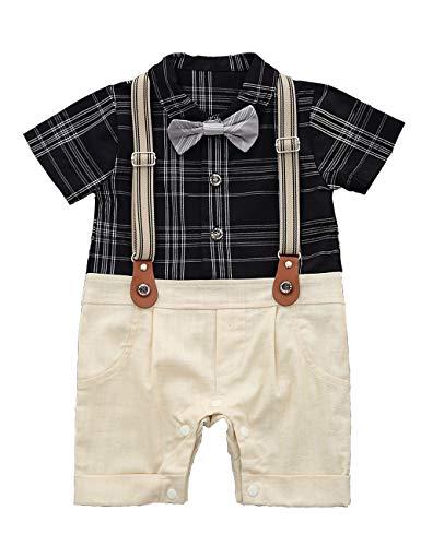 HeMa Island HMD Baby Boy Gentleman White Shirt Bowtie Tuxedo Onesie Jumpsuit Overall Romper(0-18M) ... (90(9-12 Month), Black Plaid) -