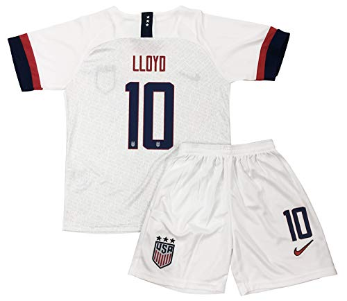 a57c93e99 New 2019/2020 Carli Lloyd #10 USA National Team Home Soccer Jersey & Shorts  for Kids/Youths (5-6 Years Old) White