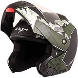 Vega Crux DX Full Face Helmet (Camouflage Dull Black and Battle Green, L)