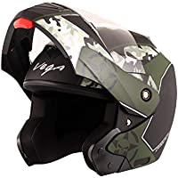 Vega Crux DX Full Face Helmet (Camouflage Dull Black and Battle Green, L)