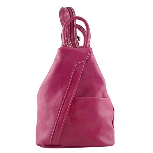 Zaino Per Donna In Vera Pelle Con Spalline Regolabili Colore Fucsia - Pelletteria Toscana Made In Italy - Zaino