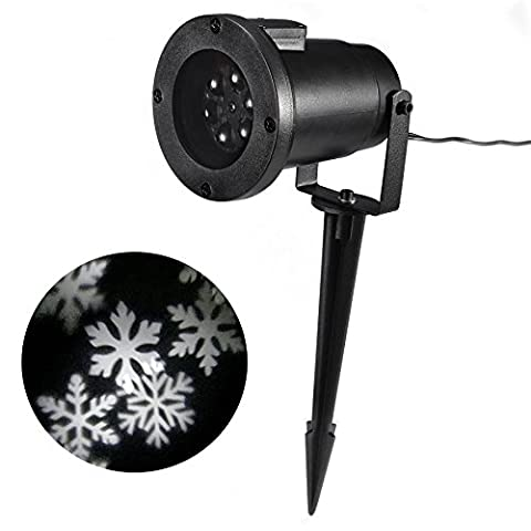 Myhome LED Christmas Light, 4W LED Moving Snowflake Spotlight, Dynamic Landscape Projector Light Lamp, Party Light for Holiday, Garden,House Indoor/Outdoor Decor–Waterproof and Fun Toys for Children