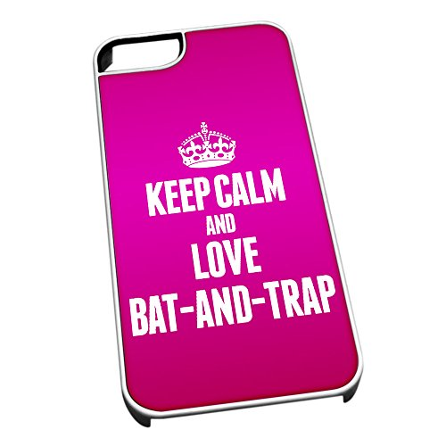 Bianco cover per iPhone 5/5S 1698 Pink Keep Calm and Love bat-and-trap