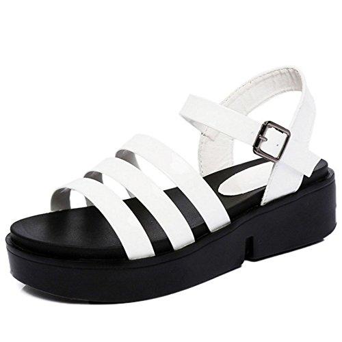COOLCEPT Mujer Moda Punta Abierta Ankle Strap Zapatos Slingback Chunky Heel Sandalias Blanco