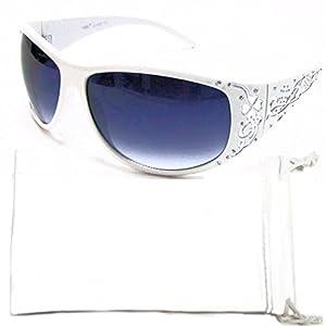 Vox Women's Sunglasses Designer Fashion Eyewear Free Microfiber Pouch – White Frame - Smoke Lens