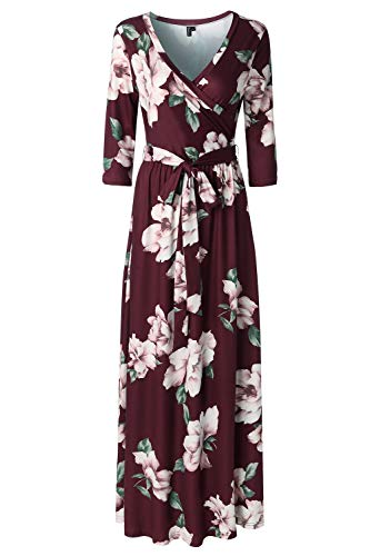 Zattcas Womens 3/4 Sleeve Floral Print Faux Wrap Long Maxi Dress with Belt (XX-Large, Wine Red)